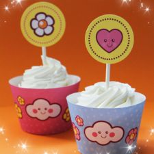 Free #printable designs for cupcake liners, party decor, git bags and tags etc. #cute #kawaii