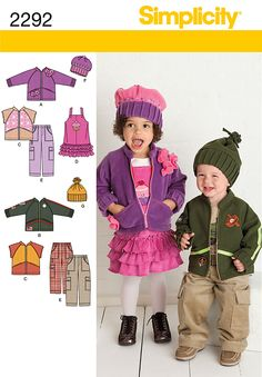 Toddlers' jacket or vest, pants, jumper, and hats in three sizes S M L Simplicity sewing pattern part of Simplicity Winter 2010 collection. Pattern for 7 looks. For sizes A Toddlers' sportswear in size a simplicity pattern 2292 Number of looks Instruct Hat Patterns To Sew, Sewing Patterns Girls, Simplicity Sewing Patterns, Sewing For Kids, Baby Sewing, Sewing Ideas, Kids Patterns, Fall Toddler Outfits, Thing 1