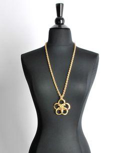 Chanel Vintage Gold Camellia Flower Necklace - Amarcord Vintage Fashion