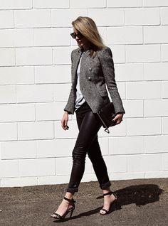 tweed blazer, grey tee, leather pants, black bag, heels