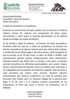 CRÓNICA FERROVIARIA: Unión Ferroviaria: Comunicado Gremial de la seccio...