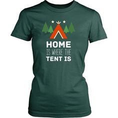 Home is where the tent is Camping T Shirt - District Unisex Shirt / Black / S   Unique tees, hoodies, tank tops  - 1