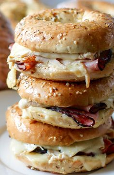 Baked Ham and Turkey Everything Bagel Sandwiches with Swiss.