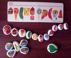 Easy Paint Rock For Try at Home (Stone Art & Rock Painting Ideas) Hungry Caterpillar story stones all hand painted Stone Crafts, Rock Crafts, Arts And Crafts, Story Stones, Diy For Kids, Crafts For Kids, Stone Painting, Rock Painting, Very Hungry Caterpillar