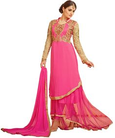 Buy Georgette Embroidered Semi stitched Salwar Suit Online in India at hashshopping.com with lowest prices, FREE shipping and cash on delivery #shopping #salwarkameez #women #fashion #OnlineShopping #India