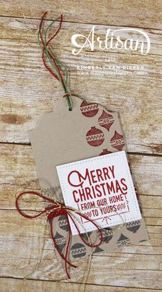 Quick and simple Christmas tag ideas using rubber stamps.