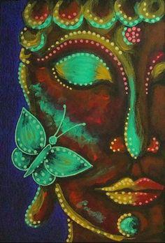 Art: BUDDHA 1 PAINTING COMM. 4 X 6 by Artist Cyra R. Cancel
