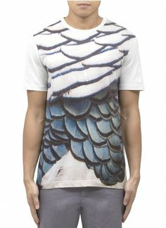 LANVIN - Bird feather printed T-shirt | Multi-colour Short Sleeves T-Shirts