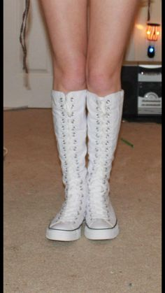 965a6383d85 My white knee high converse! These pair are for my thick mud adventure  boots LOL they are already Nor that white because of the thick mud I always  submerge ...
