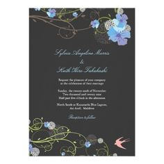 Blue Hibiscus Floral Nature Birds Swallows Wedding Custom Invitation  Click on photo to purchase. Check out all current coupon offers and save! http://www.zazzle.com/coupons?rf=238785193994622463&tc=pin