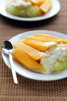 Mango sticky rice.  Glorious, and vegan/pareve by nature.  When the mango is good, this can be the best dessert on earth.