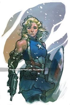 "arkhane: "" Lady Captain America and Lady Thor Art by Yasmine Putri "" Comic Book Characters, Comic Character, Comic Books Art, Comic Art, Character Design, Marvel Comics, Marvel Avengers, Capitan America Comic, Marvel Universe"