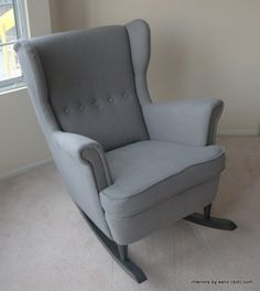 25 DIYs for a Totally Trendy Nursery.  Really great idea for turning a wing chair into a rocker.
