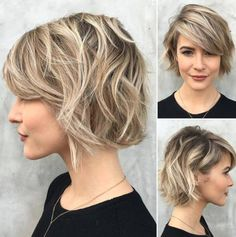 short choppy wavy bob with bangs More