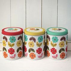 Mid Century Poppy Set Of 3 Tea Coffee Sugar Tins from Rex London - the new name for dotcomgiftshop. Great value gifts and homeware in original designs. Save Instagram Photos, Coffee Tin, Vintage Caravans, Retro Print, Tea Tins, Vintage Kitchenware, Quirky Gifts, Retro Aesthetic, Vintage Gifts