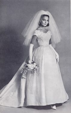 1963 wedding dress.  Love the neckline and sleeves on this