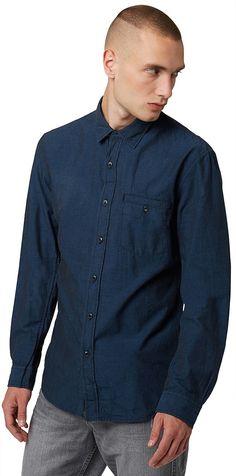 Basic Button-Down Hemd für Männer (unifarben, langärmlig mit Kentkragen) aus Chambray, stone washed für einen dezenten Used-Look, oberster Knopf hat eine eigene Lasche, aufgesetzte Brusttasche auf der linken Seite. Material: 100 % Baumwolle...