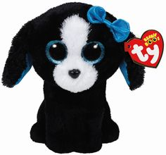 Kids and collectors alike will love this dog Beanie Boo! Tracey Beanie Boo Dog Plush has large eyes, a black coat, blue bow, and synthetic beans inside. Ty Beanie Boos, Beanie Babies, Beanie Boo Dogs, Ty Boos, Black And White Dog, White Dogs, Ty Peluche, Ty Stuffed Animals, Stuffed Toy