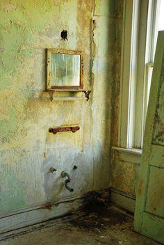abandoned hotel bedroom.