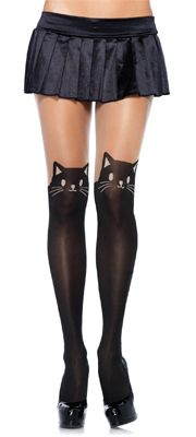 Black & Nude Cat Opaque Pantyhose with Sheer Thigh Accent