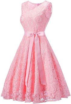Avril Dress Princess Floral Lace Dress V-Neck A-line Bridesmaid Party Cocktail , Floral Lace Dress, Pink Dress, Lace Dresses, Party Dresses, Sexy Outfits, Pink Bridesmaid Dresses Short, Cocktail Vestidos, Sheer Dress, Cute Fashion