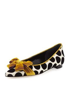 """Manolo Blahnik satin flat with velvet polka dots. 0.5"""" stacked heel. Pointed toe. Corduroy bow detail. Piped collar. Slip-on style. Smooth outsole. """"Gorina"""" is made in Italy."""