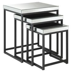 OSP Designs Krystal 3-Piece Nesting Table $223