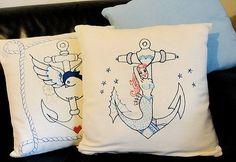 Anchor design pillows - Love these.