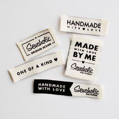 """Sewaholic Patterns - """"One of a Kind, Handmade with Love, Made by Me, Sewaholic Original Design"""" Woven Clothing Labels - Pack of 5 Sew-In Labels, $5.98 (http://www.sewaholicpatterns.com/one-of-a-kind-handmade-with-love-made-by-me-sewaholic-original-design-woven-clothing-labels-pack-of-5-sew-in-labels/)"""