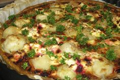 """In response to Ottolenghi's artichoke pie with chard, I invented the """"nature pear tart with beetroot"""" and using the cheeses, which I found in our fridge: creamy goat cheese and ricotta."""