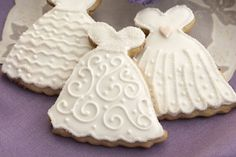 Wedding dress cookies.  What a great idea for a bridal shower!
