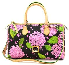 Dooney & Bourke Classic Satchel Purse Bag Handbag with Leather Trim and Handles, Pink Black - http://handbagscouture.net/brands/dooney-bourke/dooney-bourke-classic-satchel-purse-bag-handbag-with-leather-trim-and-handles-pink-black/
