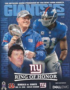 Game program from #MondayNightFootball 11/14/16 New York Giants vs Cincinnati #Bengals - Ring of Honor induction - Tom Coughlin, Ernie Acorsi, & Justin Tuck. #NYG @GiantsPride