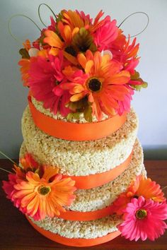 Rice Krispie wedding cake. Not necessarily the rice crispier but I love the flowers