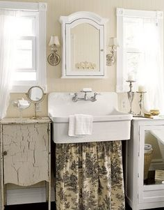 cute bath with a Toile skirt