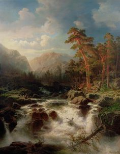 Marcus Larson (1825-1864): Mountain Torrent, Smaland
