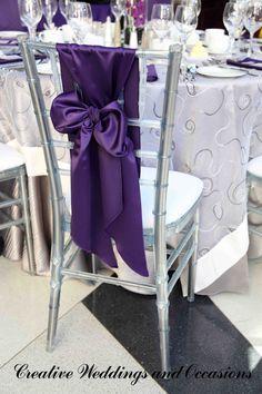 #purple wedding reception ...Purple chair sash