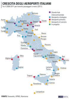 Passeggeri transitati per aeroporti italiani utilizzando un vettore italiano. Troppi aeroporti e spesso ravvicinati.