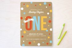 First Confetti Children's Birthday Party Invitations by Oodles of Color at minted.com