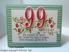 Linda K's Stampin' Page: Stampin' Up! Number of Years Birthday Bouquet DSP You Can Make It