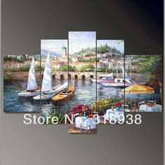 100% Hand painted Mediterranean landscape Wall home Oil Painting on canvas 5pcs/set ready to hang Framed /AF626