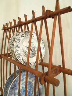 Vintage French Pied a Terre Wooden Plate Rack  by CityGirlAntiques