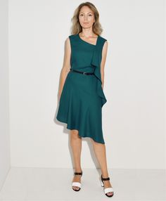 ASYMMETRIC FRILL DRESS turquoise