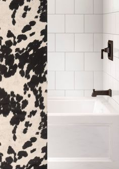 Custom made to order fabric shower curtain using our faux hair-on cowhide fabric called Udder Dominoes with a black and white longhorn cattle pattern in a fabric that can be used with any rustic western bathroom or southwest bathroom decor that needs a unique western ranch look. Made and Ships from Wooded River. We can also do 'custom sizes' - please contact us for a quote. See details tab for important info. Western Bathroom Decor, Western Bathrooms, Western Baths, Cowhide Fabric, Longhorn Cattle, Wood River, Southwest Decor, Gifts For Office, Bathroom Colors