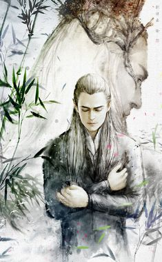 Lee Pace as Thranduil and Orlando Bloom as Legolas in The Hobbit Trilogy Legolas Et Thranduil, Tauriel, Hobbit Art, O Hobbit, Fellowship Of The Ring, Lord Of The Rings, Fanart, Elvish, Jrr Tolkien