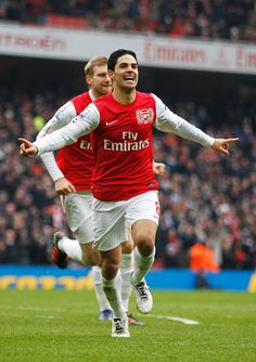 Mikel Arteta of Arsenal celebrates after scoring Arsenal's forth goal during the Barclays Premier League match between Arsenal and Blackburn Rovers at Emirates Stadium on February 4, 2012 in London, England.
