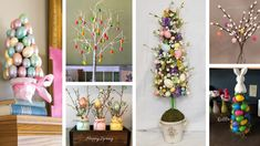 18 Unique Easter Egg Tree Ideas to Add More Color to Your Home Easter Tree Decorations, Tree Centerpieces, Easter Bunny Eggs, Easter Décor, Egg Tree, Spring Tree, Coloring Easter Eggs, Easter Colors, Decorated Jars