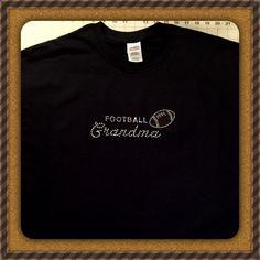 Football Grandma Rhinestone Bling Tee Shirt