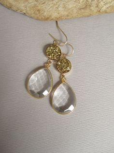 Gold Druzy Earrings Drusy Clear Crystal Quartz by julianneblumlo, $148.00