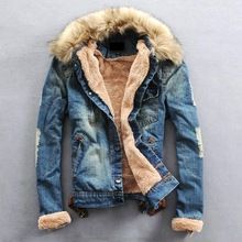Free Shipping 2015 New Winter Men Clothing Jeans Coat Men Outwear With Fur Collar Wool Denim Jacket Thick Clothes  From plonlineventures.com At Your Aliexpress link